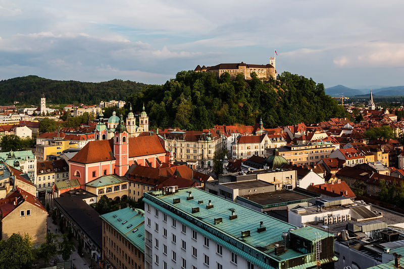 Elevated View of the Skyline of the Old Town and Castle
