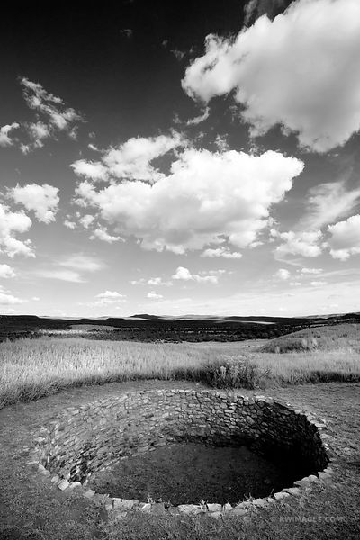 ROUND KIVA PUEBLO RUINS PECOS NATIONAL HISTORICAL PARK NEW MEXICO VERTICAL BLACK AND WHITE