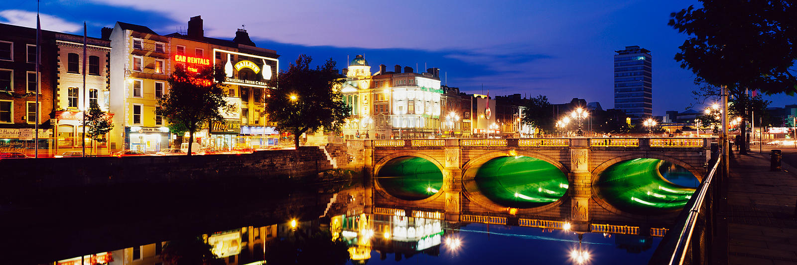 O'Connell Street and River Liffey at Dusk