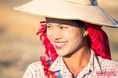 Portrait of young beautiful asian woman smiling, Myanmar