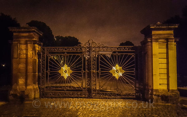 Princes Park Gates after dark.