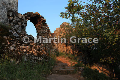 Monfrague Castle (Castillo de Monfrague) just after sunrise, Extremadura, Spain