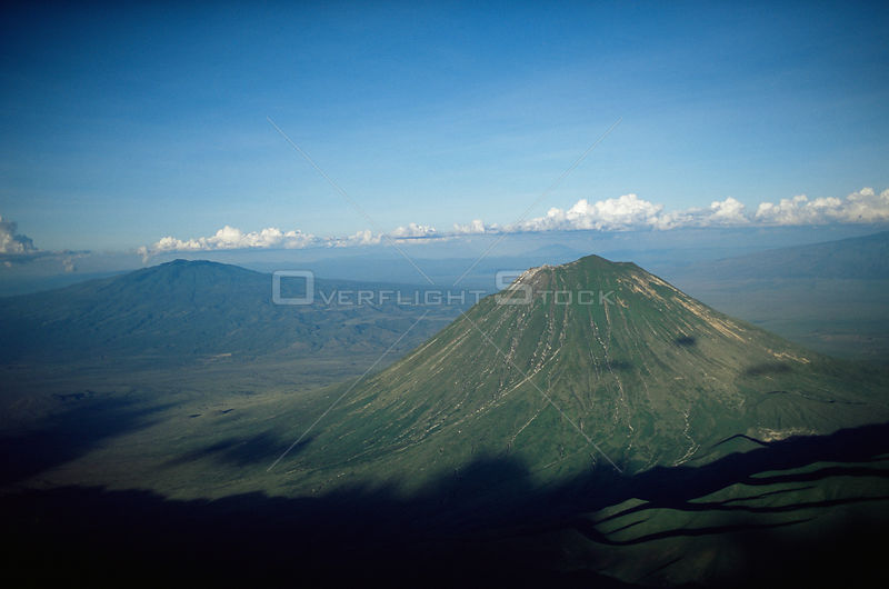 Aerial view of Ol Doinyo Lengai (The Mountain of God) Volcanoe, Rift Valley, Tanzania. NB still active