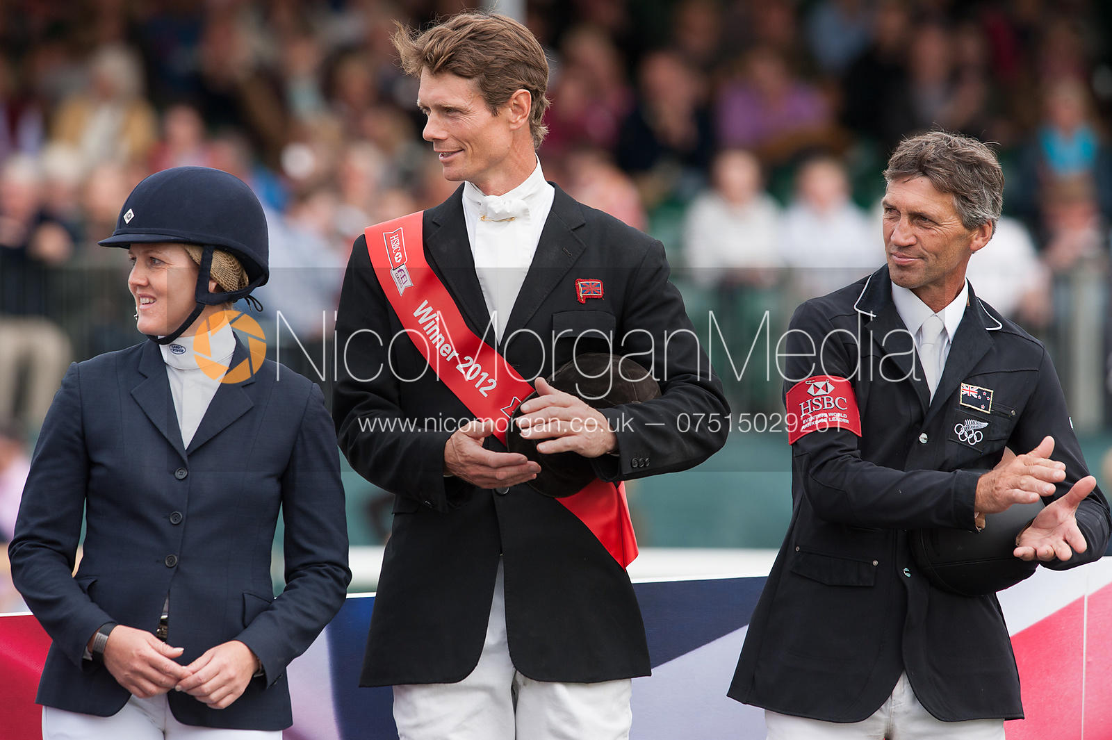 Allison Springer, William Fox-Pitt and Andrew Nicholson - prizegiving ceremony - Land Rover Burghley Horse Trials 2012.