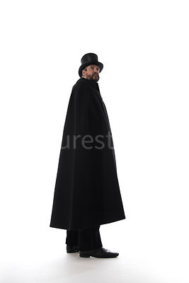 A Victorian man in a hat and cloak – shot from low level.