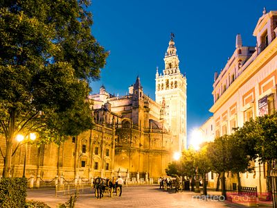 La Giralda (bell tower) and cathedral at night, Seville, Spain