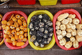 Varieties of maize (Zea mays) for sale in a shop in Cusco, Peru