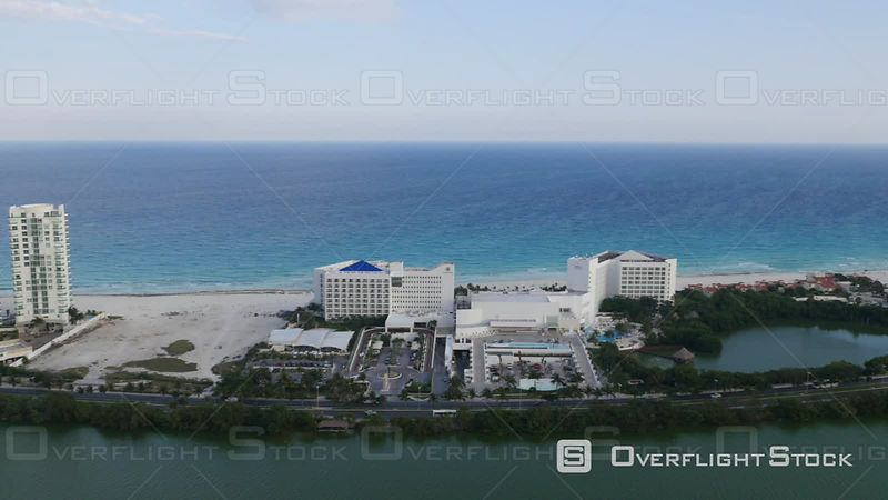 Aerial Footage of Hotels and Beach in Cancun, Mexico