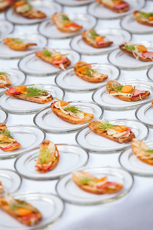 Beautiful crostini bites ready for service in a party