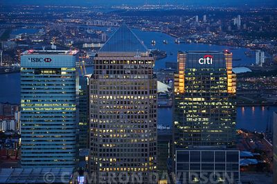 Aerial London Canary Wharf in the early evening.