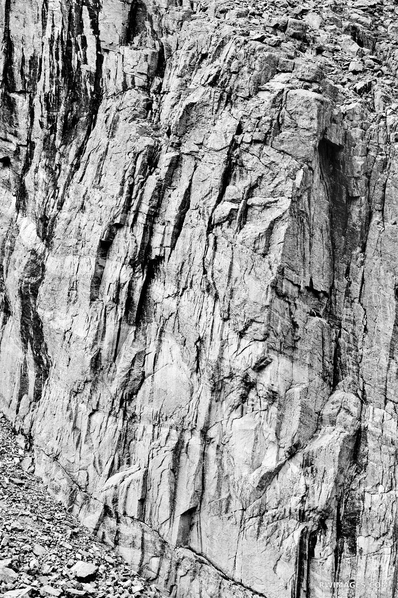 ROCK WALL NEAR CHASM LAKE ROCKY MOUNTAIN NATIONAL PARK COLORADO BLACK AND WHITE