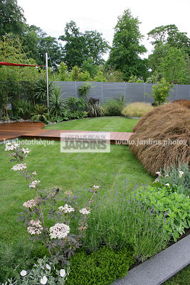 Jardin contemporain. Pelouse. Claustra. Coin repos. Sambucus nigra 'Guincho Purple'. Carex comans 'Milk Chocolate'. Dallage en bois. Irlande. Paysagistes : Com Doyle et Dean Lacey