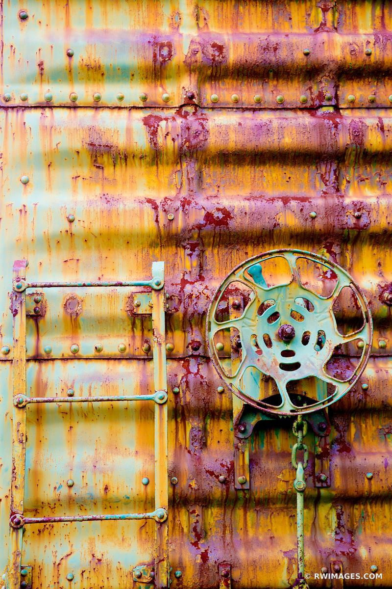 RUSTY OLD TRAIN FREIGHT CAR WALL RANDOLPH VERMONT COLOR