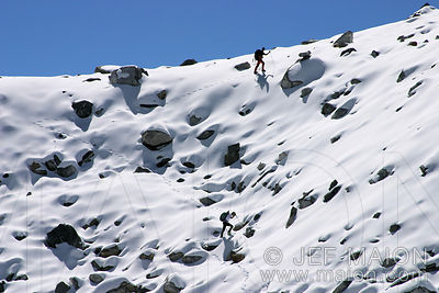Climbers in a snow slope