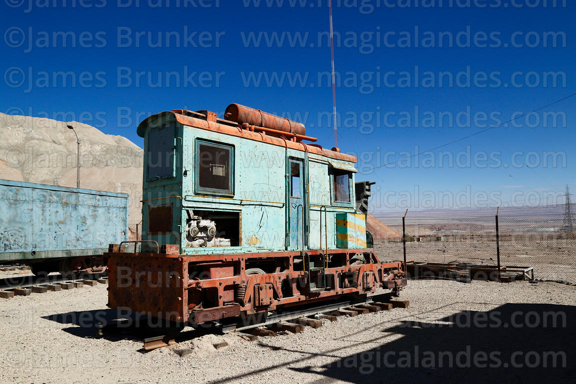 Disused electric train on display near Chuquicamata mine, Region II, Chile