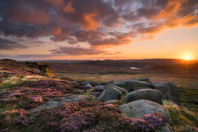 Summer sunset on Stanage Edge | Peak District Photography