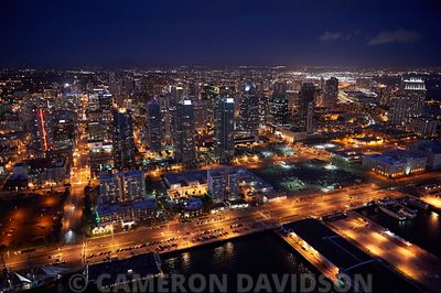 Aerial photograph of San Diego at dusk.
