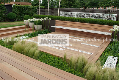 Bench, Contemporary garden, Wooden Terrace, Digital, Formal garden, Grasses, Scenery