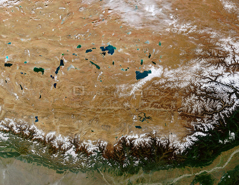 EARTH Great Himalayan Range / Tibetan Plateau -- 28 Dec 2002 -- The Himalayan Mountain Range runs a curving path from west to...