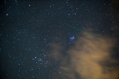 A lone shooting star belonging to the Leonid meteor shower flies past the Pleiades on November 18 2017.