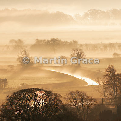 Misty November dawn in the Lyth Valley, Cumbria, England