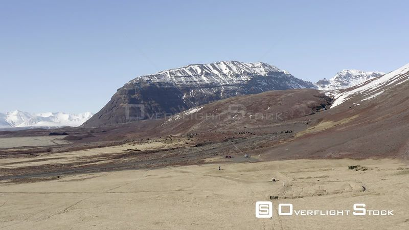 Landscape Aerial Views Across Rugged Mountainous Iceland in the Winter