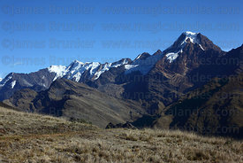 Mt Akamani (right), seen from near Curva on Curva to Pelechuco trek, Cordillera Apolobamba , Bolivia