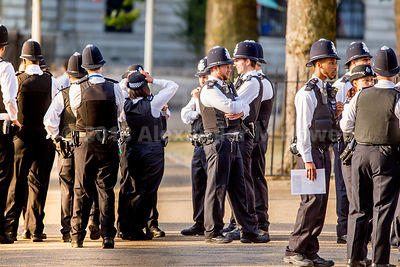 Police officers gathering for the RAF parade and Flypast