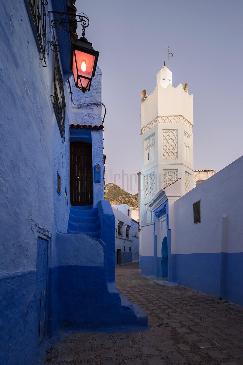 Minaret of the Bab Souk Mosque and a Narrow Street at Dusk