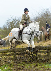 Frankie Wyatt jumping the hunt jump at Newbold - The Fitzwilliam Hunt visit the Cottesmore at Burrough House