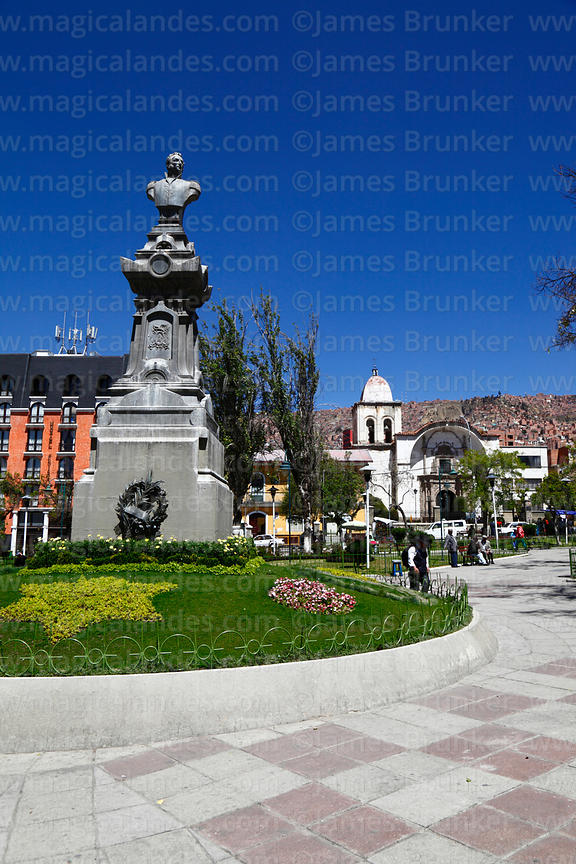 Monument to Mariscal Andrés de Santa Cruz, San Pedro church in background,  Plaza San Pedro, La Paz, Bolivia