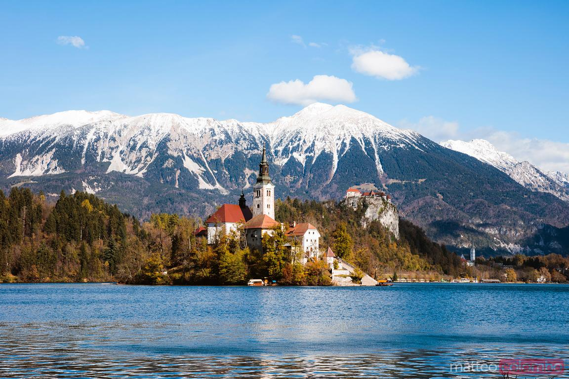 Bled lake and julian alps in autumn, Slovenia