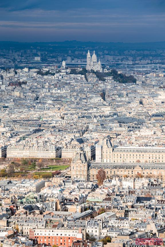 Aerial view of Paris city with Sacre Coeur basilica, France