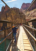 "Hikers Cross The Black (""Mule"") Bridge- Phantom Ranch, Grand Canyon"