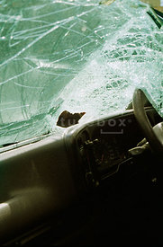 A photograph of the inside of a car after a crash.