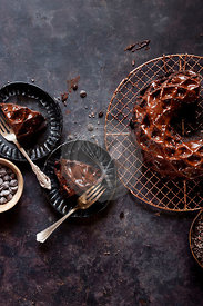 Gluten-free Chocolate Budnt cake with chocolate drizzle.