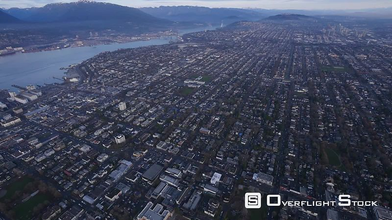 East Vancouver and Burrard Inlet Overflight BC Canada