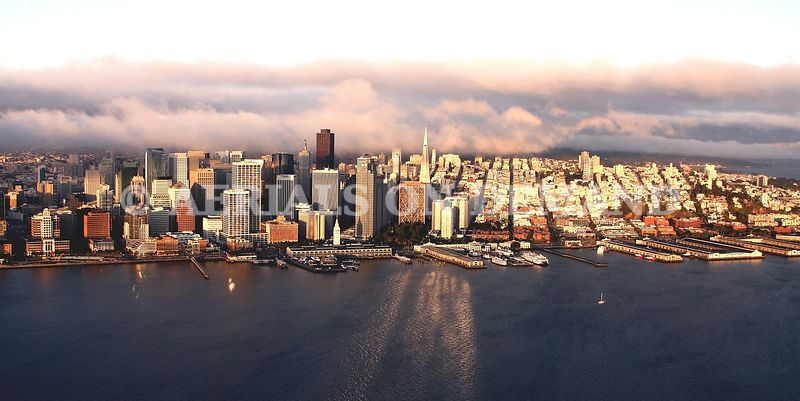 SAN FRANCISCO WATERFRONT WITH FOG