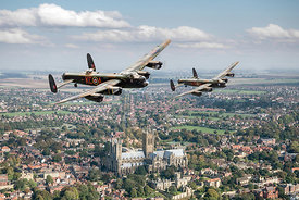 Lancs over Lincs: two Lancasters over Lincoln