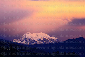 Mt Illimani at sunset, seen from La Paz, Cordillera Real, Bolivia
