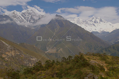 NEPAL Mount Everest -- The summit of the world's highest mountain, Mount Everest (centre right), which towers 8848 metres abo...