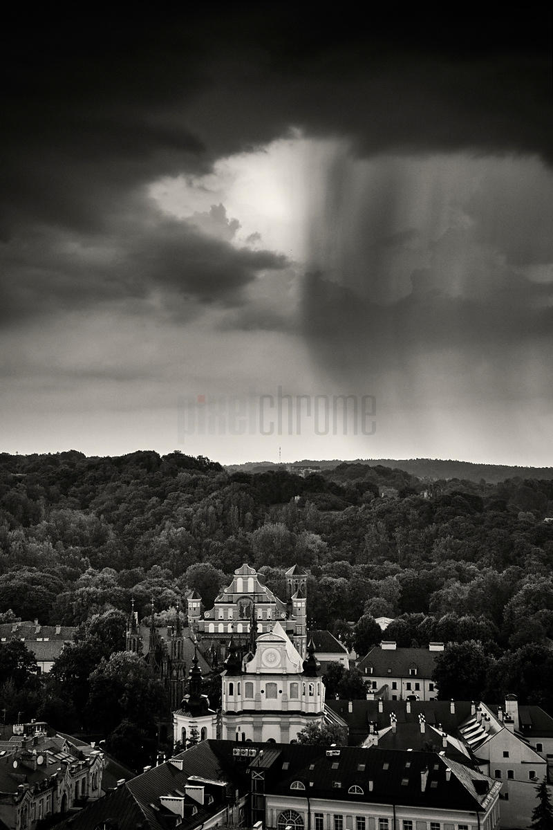 Elevated View of the Old Town of Vilnius During a Thunderstorm
