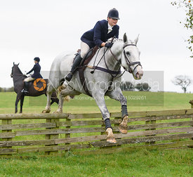 Lisa Freckingham jumping a hunt jump at Thorpe Satchville - Quorn Hunt Opening Meet 2016