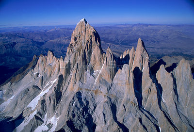 Aerial view of mountain range in Torres Del Paine NP, Chile, South America 2000