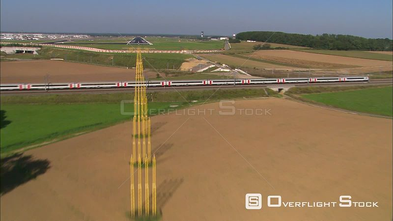 Heading over fields and a highspeed train toward the Brussels Airport in Zaventem, Belgium