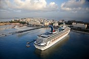 Aerial photograph of a Carnival Cruise ship in port at San Juan, Puerto Rico