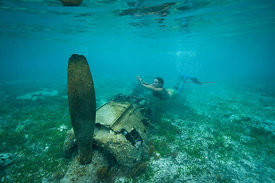 Australian mermaid at the zero fighter wreck, Palau