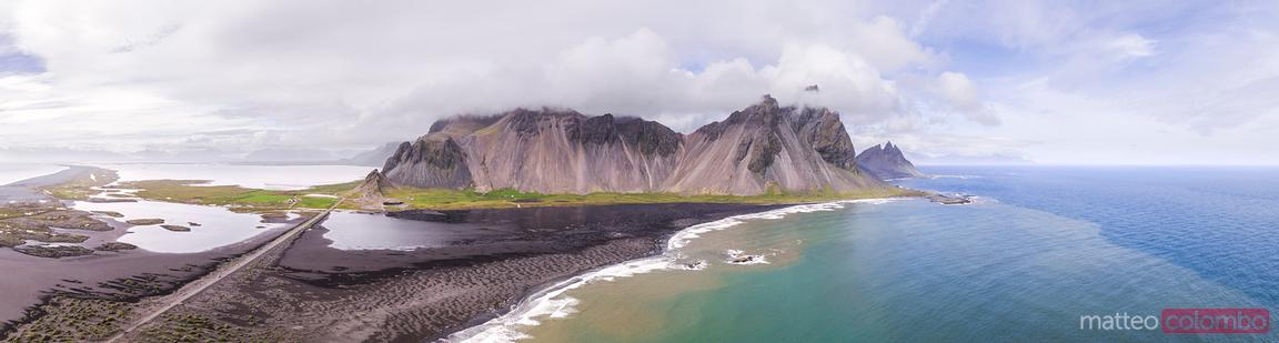 Pano drone view of Vestrahorn mountain, Stokksnes, Iceland