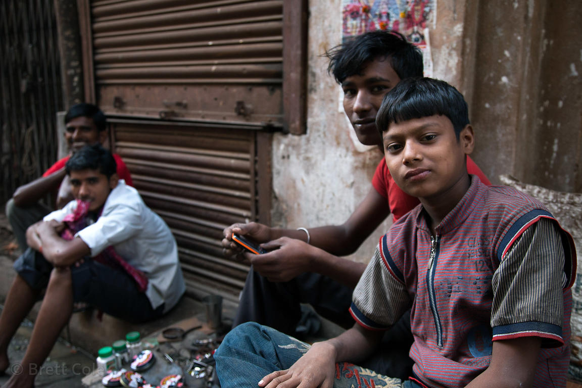 Young men at a market in Shyambazar, Kolkata, India.