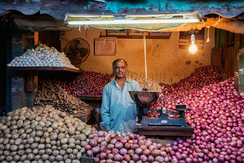 Onion, Potato & Garlic Seller at the Mysore Vegetable Market